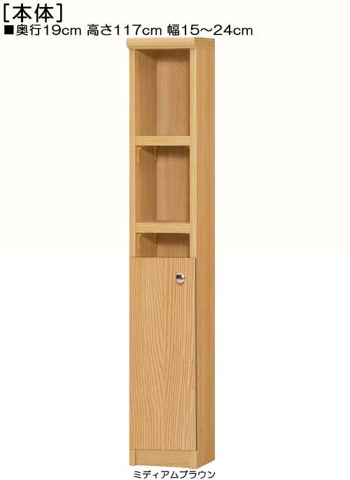 扉付隙間飾り棚高さ117cm幅15~24cm奥行19cm厚棚板(棚板厚み2.5cm)片開き 扉高さ52.5cm 扉付台所収納 隙間飾り棚