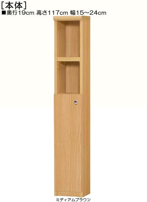 扉付隙間飾り棚高さ117cm幅15~24cm奥行19cm厚棚板(棚板厚み2.5cm)片開き 扉高さ62.6cm 扉付サニタリ家具 隙間飾り棚