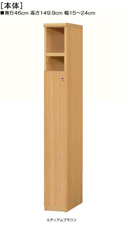 扉付隙間収納高さ149.9cm幅15~24cm奥行46cm厚棚板(棚板厚み2.5cm)片開き 扉高さ109.5cm 扉付集会所ラック 隙間収納