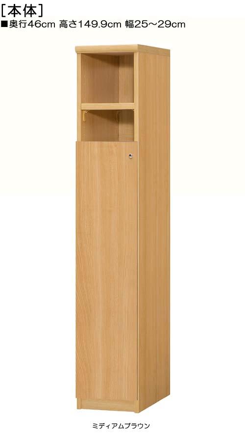 扉付壁収納高さ149.9cm幅25~29cm奥行46cm厚棚板(棚板厚み2.5cm)片開き 扉高さ109.5cm 扉付図書室ディスプレイ 壁収納