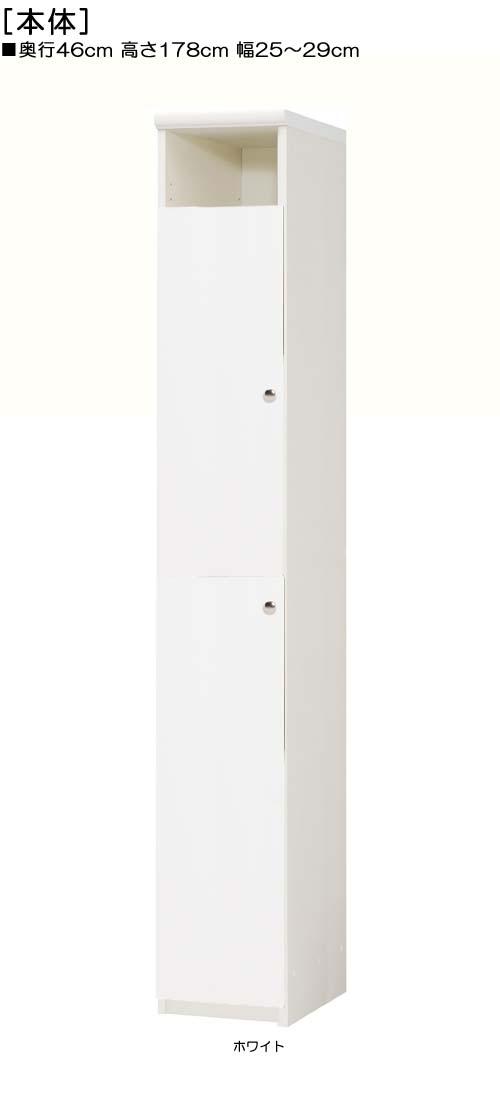 扉付壁収納高さ178cm幅25~29cm奥行46cm厚棚板(棚板厚み2.5cm)上下片開き 扉高さ142.2cm 扉付デスク周りボード 壁収納