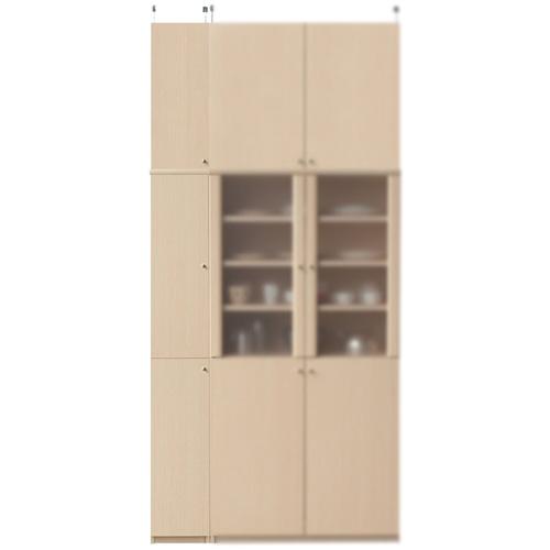 薄型台所収納棚高さ250~259cm幅25~29cm奥行19cm(高さ=ラック高さ178cm+突っ張り棚高さ65cm+伸縮突っ張り金具)木製片開き扉薄型台所収納棚
