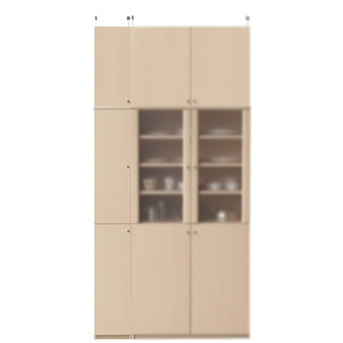 木製キッチンスリムストッカー高さ241~250cm幅25~29cm奥行31cm厚棚板(棚板厚2.5cm)(高さ=ラック高さ178cm+突っ張り棚高さ56cm+伸縮突っ張り金具)木製片開き扉木製キッチンスリムストッカー