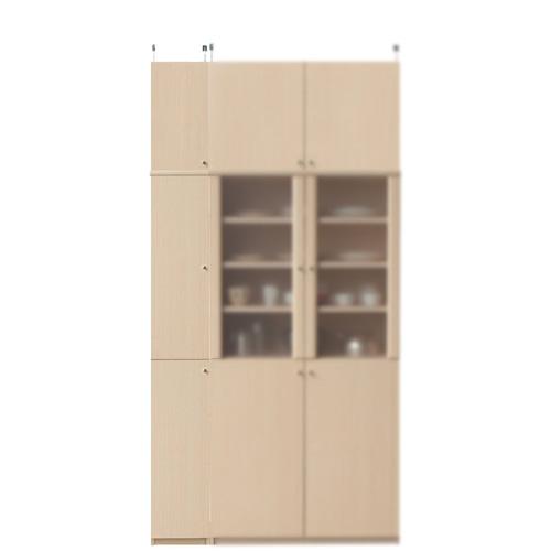 突っ張り式食品保管棚高さ232~241cm幅25~29cm奥行40cm(高さ=ラック高さ178cm+突っ張り棚高さ47cm+伸縮突っ張り金具)木製片開き扉突っ張り式食品保管棚
