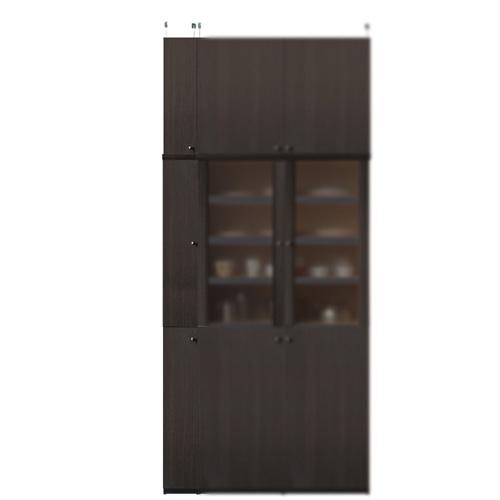 【期間限定ポイント6倍 9/2まで】木製全面扉 片開き(左開き/右開き) 全面扉付台所収納棚 高さ241~250cm幅15~24cm奥行40cm(高さ=ラック高さ178cm+突張棚高さ56cm+伸縮突張金具)