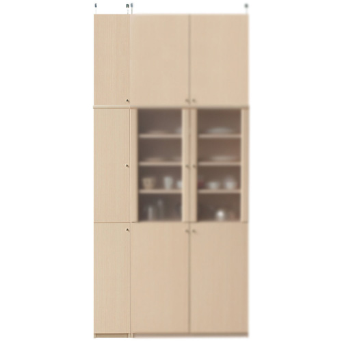 突っ張り式キッチンキャビネット高さ250~259cm幅25~29cm奥行40cm厚棚板(棚板厚2.5cm)(高さ=ラック高さ178cm+突っ張り棚高さ65cm+伸縮突っ張り金具)木製片開き扉突っ張り式キッチンキャビネット