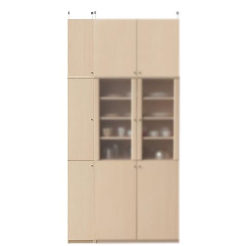 深型キッチンスリムストッカー高さ241~250cm幅25~29cm奥行46cm厚棚板(棚板厚2.5cm)(高さ=ラック高さ178cm+突っ張り棚高さ56cm+伸縮突っ張り金具)木製片開き扉深型キッチンスリムストッカー