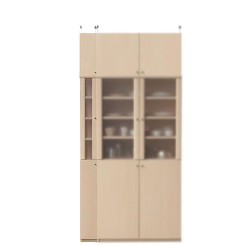 浅型食品ストッカー高さ226~235cm幅15~24cm奥行19cm厚棚板(耐荷重30Kg)(高さ=ラック高さ178cm+突っ張り棚高さ41cm+伸縮突っ張り金具)半透明片開き扉浅型食品ストッカー