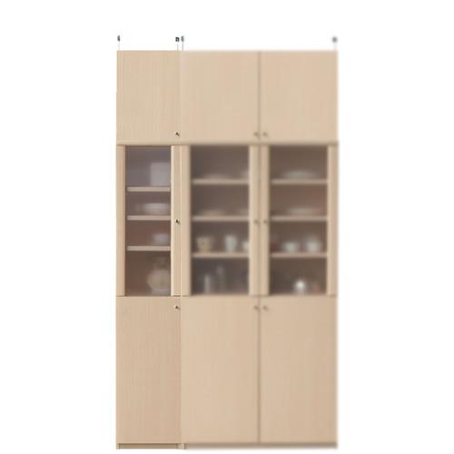 木製カップボード高さ232~241cm幅30~44cm奥行19cm(高さ=ラック高さ178cm+突っ張り棚高さ47cm+伸縮突っ張り金具)半透明片開き扉木製カップボード