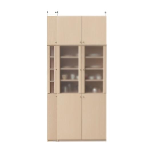 浅型隙間食器棚高さ232~241cm幅15~24cm奥行19cm厚棚板(耐荷重30Kg)(高さ=ラック高さ178cm+突っ張り棚高さ47cm+伸縮突っ張り金具)半透明片開き扉浅型隙間食器棚