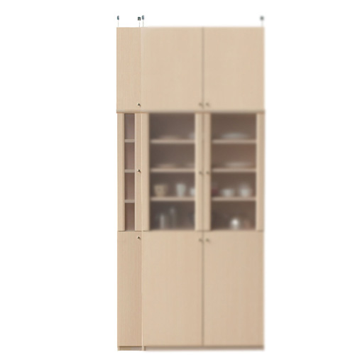 浅型カップボード高さ241~250cm幅15~24cm奥行19cm(高さ=ラック高さ178cm+突っ張り棚高さ56cm+伸縮突っ張り金具)半透明片開き扉浅型カップボード