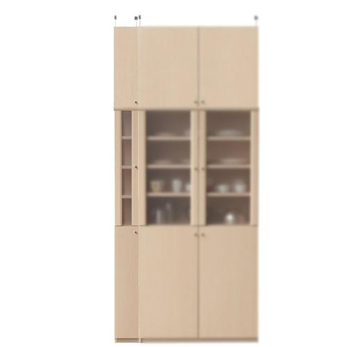 木製カップボード高さ241~250cm幅15~24cm奥行19cm厚棚板(棚板厚2.5cm)(高さ=ラック高さ178cm+突っ張り棚高さ56cm+伸縮突っ張り金具)半透明片開き扉木製カップボード