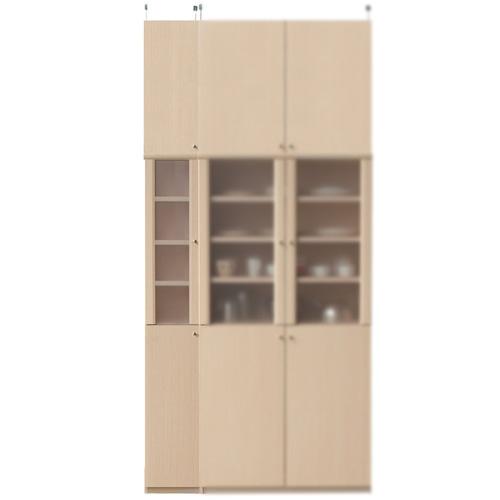 木製カップボード高さ250~259cm幅25~29cm奥行19cm厚棚板(棚板厚2.5cm)(高さ=ラック高さ178cm+突っ張り棚高さ65cm+伸縮突っ張り金具)半透明片開き扉木製カップボード