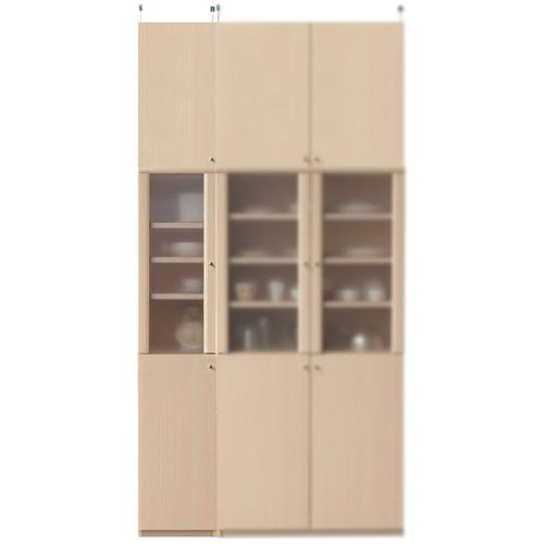 浅型隙間食器棚高さ250~259cm幅30~44cm奥行19cm厚棚板(棚板厚2.5cm)(高さ=ラック高さ178cm+突っ張り棚高さ65cm+伸縮突っ張り金具)半透明片開き扉浅型隙間食器棚