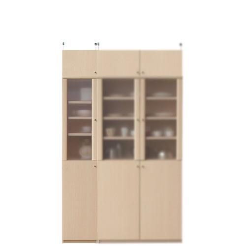ナチュラル食器棚高さ208~217cm幅30~44cm奥行31cm(高さ=ラック高さ178cm+突っ張り棚高さ23cm+伸縮突っ張り金具)半透明片開き扉ナチュラル食器棚