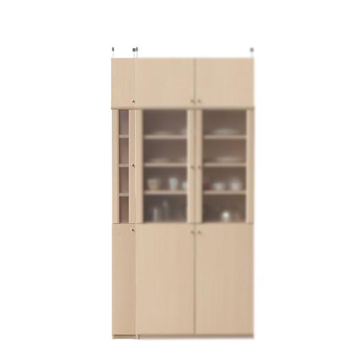 ナチュラル食器棚高さ217~226cm幅15~24cm奥行31cm厚棚板(棚板厚2.5cm)(高さ=ラック高さ178cm+突っ張り棚高さ32cm+伸縮突っ張り金具)半透明片開き扉ナチュラル食器棚