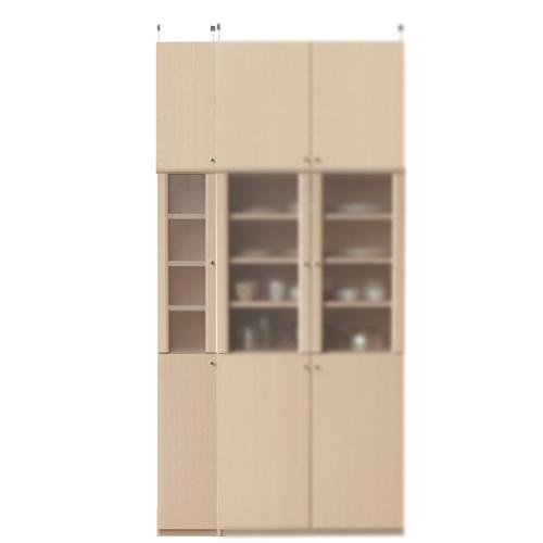 半透明扉付スリム食器棚高さ241~250cm幅25~29cm奥行31cm(高さ=ラック高さ178cm+突っ張り棚高さ56cm+伸縮突っ張り金具)半透明片開き扉半透明扉付スリム食器棚