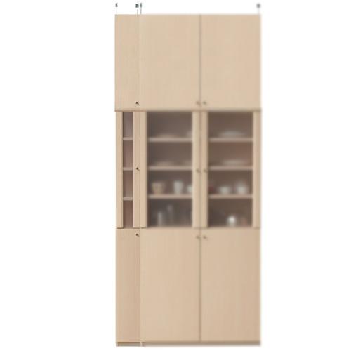 突っ張り食品保管棚高さ250~259cm幅15~24cm奥行31cm厚棚板(棚板厚2.5cm)(高さ=ラック高さ178cm+突っ張り棚高さ65cm+伸縮突っ張り金具)半透明片開き扉突っ張り食品保管棚