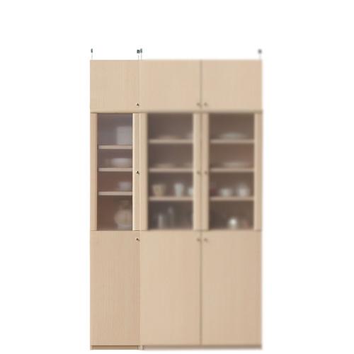 台所多目的収納棚高さ217~226cm幅30~44cm奥行40cm厚棚板(耐荷重30Kg)(高さ=ラック高さ178cm+突っ張り棚高さ32cm+伸縮突っ張り金具)半透明片開き扉台所多目的収納棚