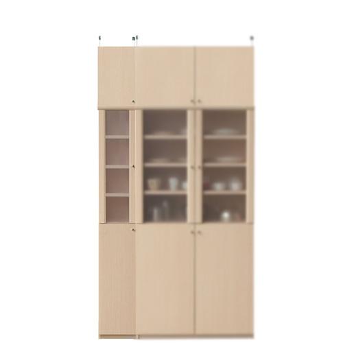 突っ張り耐震食品棚高さ226~235cm幅25~29cm奥行40cm厚棚板(耐荷重30Kg)(高さ=ラック高さ178cm+突っ張り棚高さ41cm+伸縮突っ張り金具)半透明片開き扉突っ張り耐震食品棚