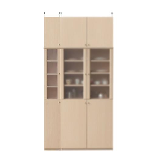 半透明扉付カップボード高さ232~241cm幅25~29cm奥行40cm厚棚板(棚板厚2.5cm)(高さ=ラック高さ178cm+突っ張り棚高さ47cm+伸縮突っ張り金具)半透明片開き扉半透明扉付カップボード