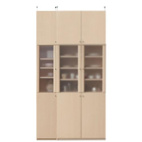 台所多目的収納棚高さ241~250cm幅30~44cm奥行40cm(高さ=ラック高さ178cm+突っ張り棚高さ56cm+伸縮突っ張り金具)半透明片開き扉台所多目的収納棚