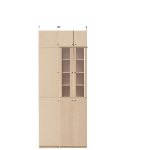 半透明扉付カップボード高さ208~217cm幅45~59cm奥行19cm厚棚板(棚板厚2.5cm)(高さ=ラック高さ178cm+突っ張り棚高さ23cm+伸縮突っ張り金具)半透明両開き扉半透明扉付カップボード