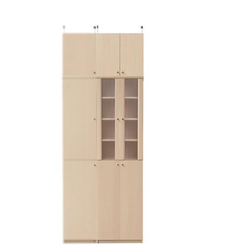 扉付き薄型食器棚高さ226~235cm幅45~59cm奥行19cm(高さ=ラック高さ178cm+突っ張り棚高さ41cm+伸縮突っ張り金具)半透明両開き扉扉付き薄型食器棚