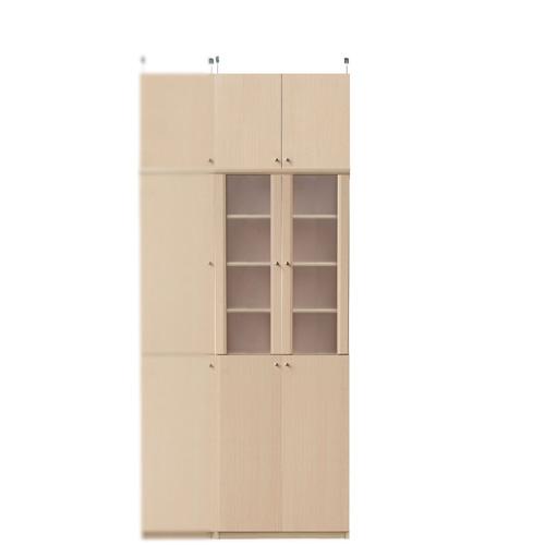 突っ張り式薄型食器棚高さ226~235cm幅60~70cm奥行19cm(高さ=ラック高さ178cm+突っ張り棚高さ41cm+伸縮突っ張り金具)半透明両開き扉突っ張り式薄型食器棚