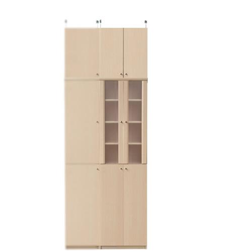 突っ張り式薄型食器棚高さ232~241cm幅45~59cm奥行19cm厚棚板(棚板厚2.5cm)(高さ=ラック高さ178cm+突っ張り棚高さ47cm+伸縮突っ張り金具)半透明両開き扉突っ張り式薄型食器棚