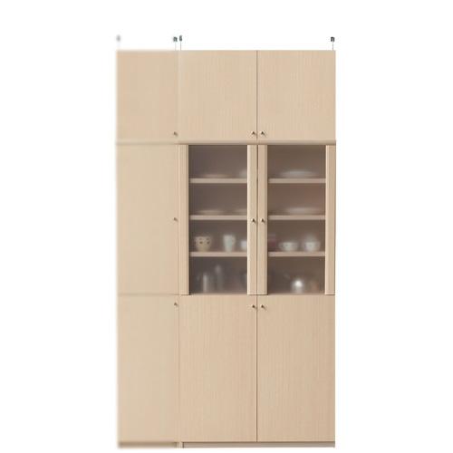 半透明扉付カップボード高さ232~241cm幅81~90cm奥行19cm厚棚板(棚板厚2.5cm)(高さ=ラック高さ178cm+突っ張り棚高さ47cm+伸縮突っ張り金具)半透明両開き扉半透明扉付カップボード