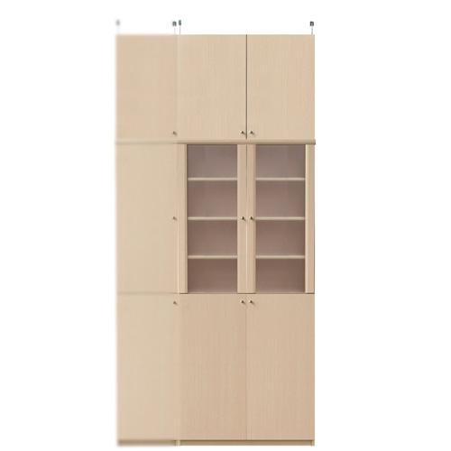スリム食器棚高さ241~250cm幅71~80cm奥行19cm厚棚板(棚板厚2.5cm)(高さ=ラック高さ178cm+突っ張り棚高さ56cm+伸縮突っ張り金具)半透明両開き扉スリム食器棚
