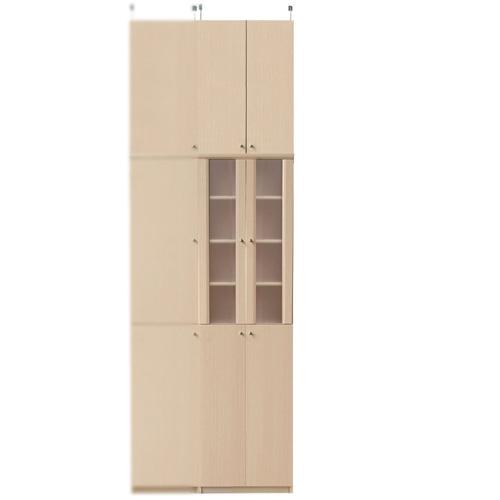 扉付きカップボード高さ250~259cm幅45~59cm奥行19cm(高さ=ラック高さ178cm+突っ張り棚高さ65cm+伸縮突っ張り金具)半透明両開き扉扉付きカップボード