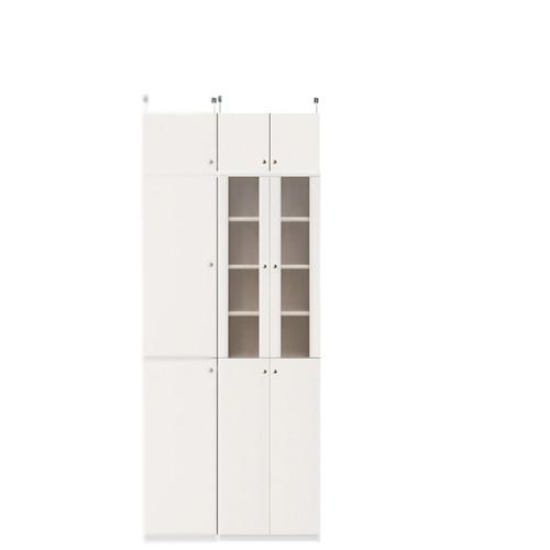 扉付きダイニングボード高さ208~217cm幅45~59cm奥行31cm厚棚板(棚板厚2.5cm)(高さ=ラック高さ178cm+突っ張り棚高さ23cm+伸縮突っ張り金具)半透明両開き扉扉付きダイニングボード