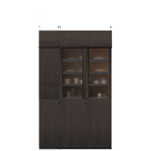 突っ張り式木製食器棚高さ208~217cm幅81~90cm奥行31cm厚棚板(耐荷重30Kg)(高さ=ラック高さ178cm+突っ張り棚高さ23cm+伸縮突っ張り金具)半透明両開き扉突っ張り式木製食器棚
