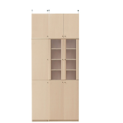 半透明扉付食器棚高さ232~241cm幅60~70cm奥行31cm厚棚板(棚板厚2.5cm)(高さ=ラック高さ178cm+突っ張り棚高さ47cm+伸縮突っ張り金具)半透明両開き扉半透明扉付食器棚