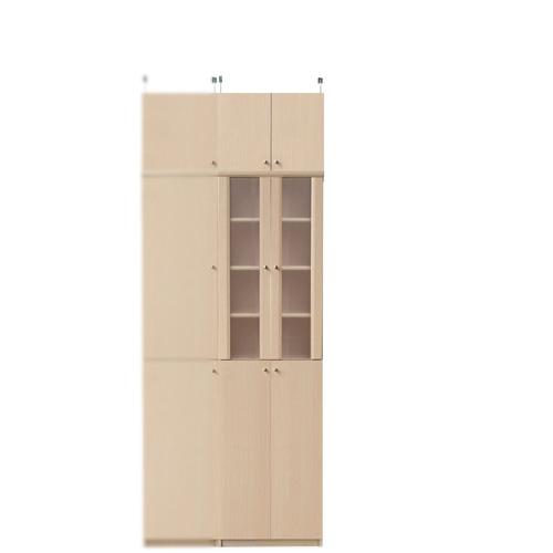 扉付きキッチン収納庫高さ217~226cm幅45~59cm奥行40cm(高さ=ラック高さ178cm+突っ張り棚高さ32cm+伸縮突っ張り金具)半透明両開き扉扉付きキッチン収納庫