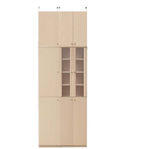 突っ張り式キッチンボード高さ241~250cm幅45~59cm奥行40cm厚棚板(棚板厚2.5cm)(高さ=ラック高さ178cm+突っ張り棚高さ56cm+伸縮突っ張り金具)半透明両開き扉突っ張り式キッチンボード