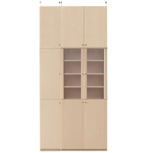扉付きキッチン収納庫高さ250~259cm幅71~80cm奥行40cm厚棚板(棚板厚2.5cm)(高さ=ラック高さ178cm+突っ張り棚高さ65cm+伸縮突っ張り金具)半透明両開き扉扉付きキッチン収納庫