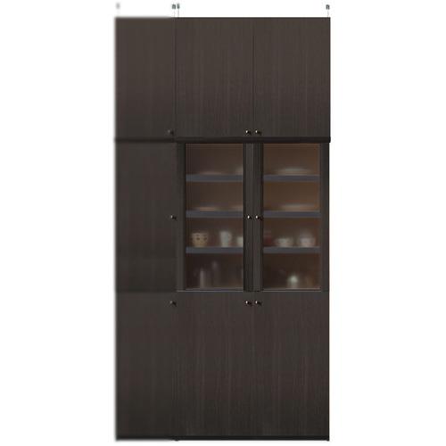 キッチン食器棚高さ250~259cm幅81~90cm奥行40cm厚棚板(棚板厚2.5cm)(高さ=ラック高さ178cm+突っ張り棚高さ65cm+伸縮突っ張り金具)半透明両開き扉キッチン食器棚