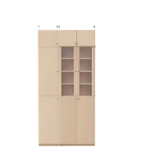 扉付き木製台所収納棚高さ208~217cm幅60~70cm奥行46cm厚棚板(耐荷重30Kg)(高さ=ラック高さ178cm+突っ張り棚高さ23cm+伸縮突っ張り金具)半透明両開き扉扉付き木製台所収納棚