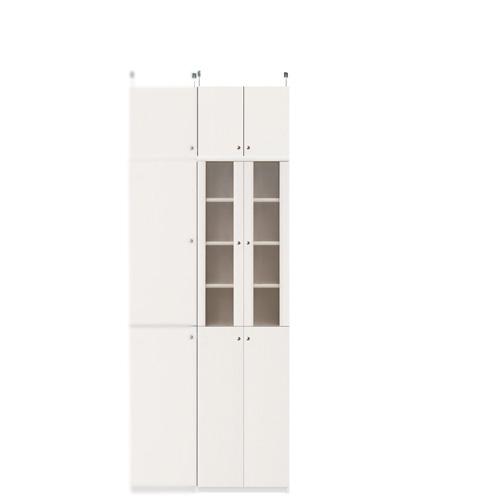 深型木製キッチンボード高さ217~226cm幅45~59cm奥行46cm厚棚板(棚板厚み2.5cm)(高さ=ラック高さ178cm+突っ張り棚高さ32cm+伸縮突っ張り金具)半透明両開き扉深型木製キッチンボード
