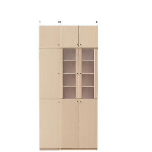 キッチン多目的収納棚高さ217~226cm幅60~70cm奥行46cm厚棚板(棚板厚2.5cm)(高さ=ラック高さ178cm+突っ張り棚高さ32cm+伸縮突っ張り金具)半透明両開き扉キッチン多目的収納棚