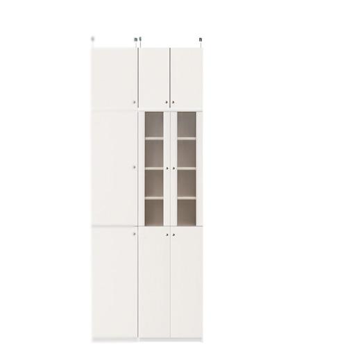 扉付き深型食器棚高さ226~235cm幅45~59cm奥行46cm厚棚板(棚板厚2.5cm)(高さ=ラック高さ178cm+突っ張り棚高さ41cm+伸縮突っ張り金具)半透明両開き扉扉付き深型食器棚