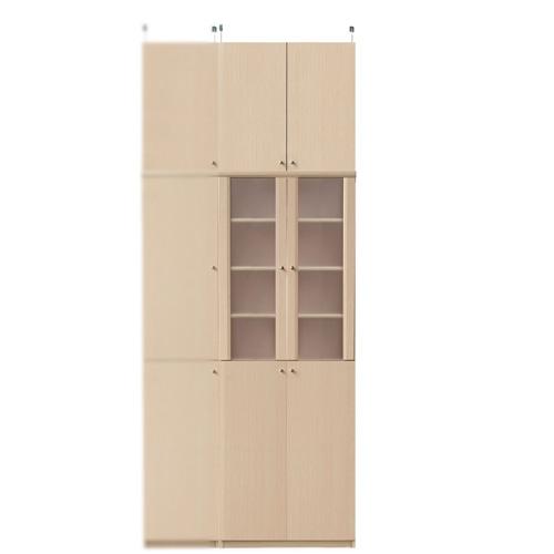 扉付き木製台所収納棚高さ241~250cm幅60~70cm奥行46cm(高さ=ラック高さ178cm+突っ張り棚高さ56cm+伸縮突っ張り金具)半透明両開き扉扉付き木製台所収納棚