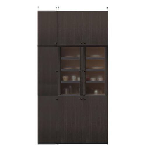 深型木製キッチンボード高さ241~250cm幅81~90cm奥行46cm厚棚板(棚板厚み2.5cm)(高さ=ラック高さ178cm+突っ張り棚高さ56cm+伸縮突っ張り金具)半透明両開き扉深型木製キッチンボード