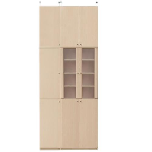キッチン多目的収納棚高さ250~259cm幅60~70cm奥行46cm(高さ=ラック高さ178cm+突っ張り棚高さ65cm+伸縮突っ張り金具)半透明両開き扉キッチン多目的収納棚