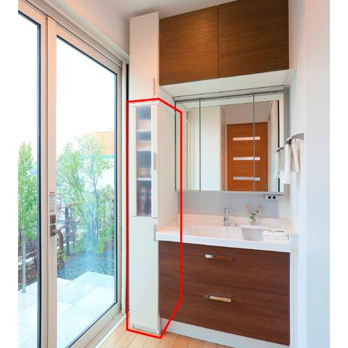 トイレ隙間収納 半透明扉 高さ178cm幅25~29cm奥行40cm 上下共片開き(左開き/右開き) ロビースリム棚