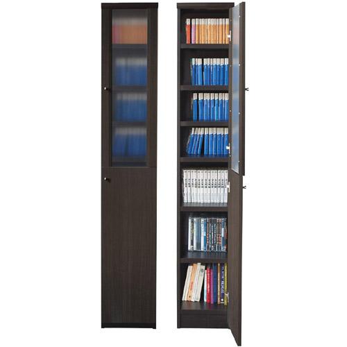 すきま本棚 半透明扉 高さ178cm幅25~29cm奥行19cm厚棚板(耐荷重30Kg) 上下共片開き(左開き/右開き) 図書室わずかな隙間ラック