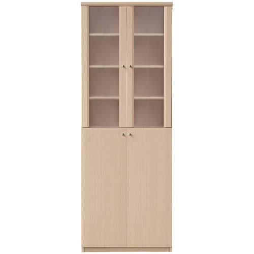 壁面本棚 半透明扉 高さ178cm幅60~70cm奥行31cm厚棚板(棚板厚み2.5cm) 上下共両開き 図書室用途色々ディスプレイ